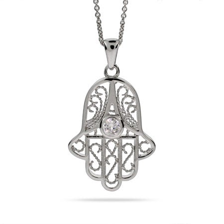 Vintage Style Filigree Sterling Silver Hamsa Necklace