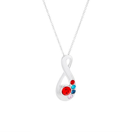 5 Birthstone Silver Infinity Mother's Necklace