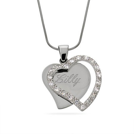 Engravable CZ Silhouette Heart Necklace