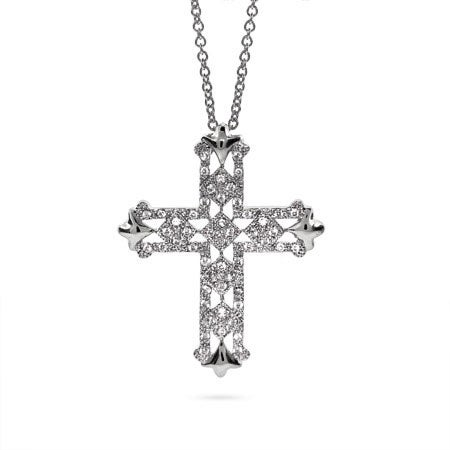 Elegant Silver CZ Cross Necklace