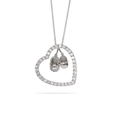 CZ Heart with Baby Shoes Mothers Necklace