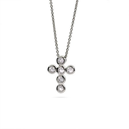 Designer Style Petite CZ Bubbles Cross Necklace | Eve's Addiction