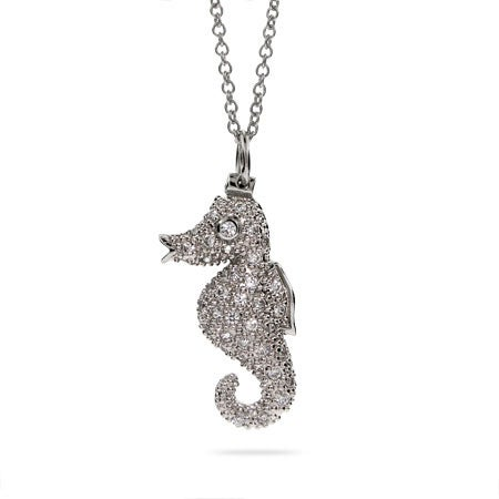Designer Inspired Pave CZ Seahorse Necklace