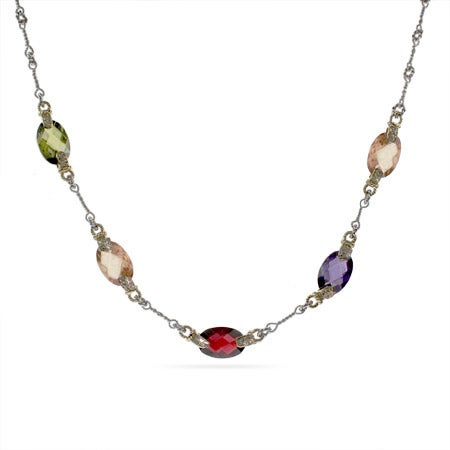 Designer Inspired Cable Link Multi Color Faceted CZ Necklace