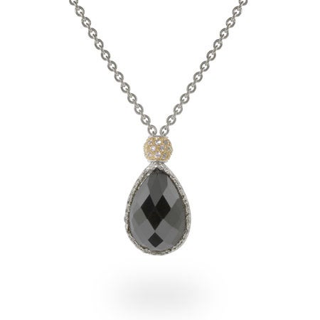 Onyx CZ Pendant With Pave Gold Bead