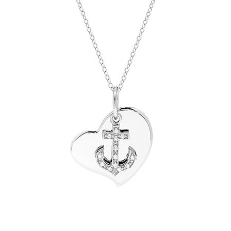 Engravable Anchor Heart Sterling Silver Necklace | Eve's Addiction®