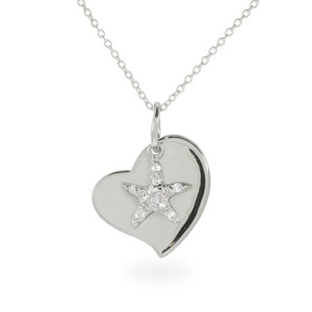 Engravable Sterling Silver Starfish Heart Charm Necklace