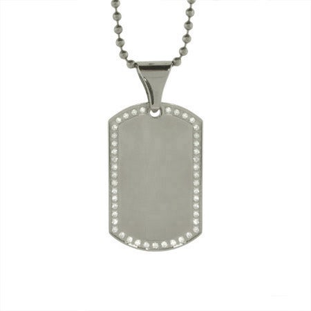 Engravable CZ Border Dog Tag | Eve's Addiction®