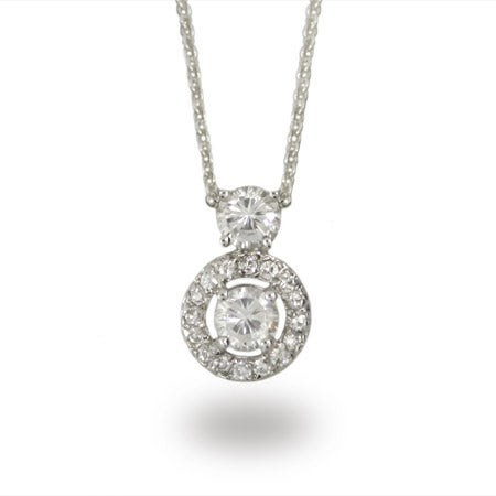 Vintage Style Diamond CZ Circle Drop Necklace