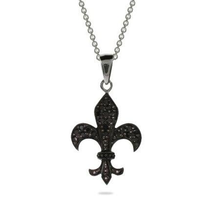 Black CZ Fleur de Lis Necklace