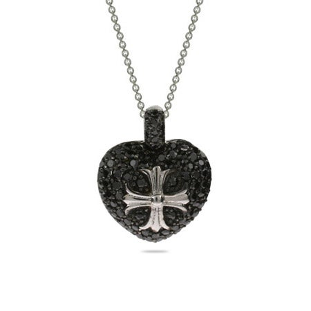 Black CZ Heart and Cross Necklace