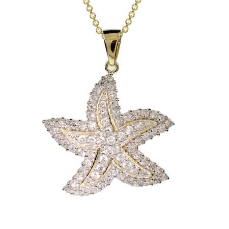 Gold Plated Pave CZ Starfish Necklace