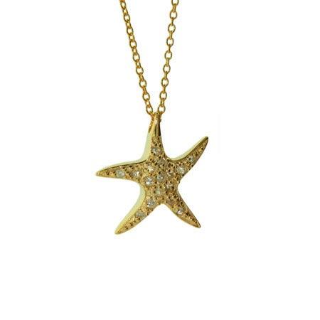 Designer Style Gold Vermeil CZ Starfish Pendant