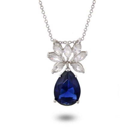 Fancy CZ Drop Sapphire Necklace