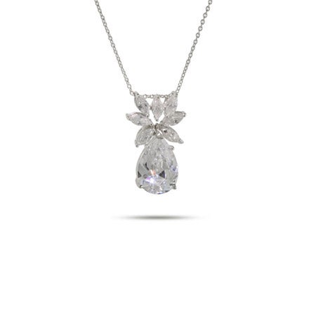 Diamond CZ Silver Peardrop Necklace