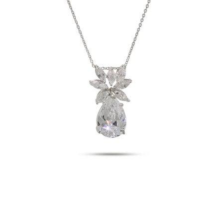 Diamond CZ Silver Peardrop Necklace