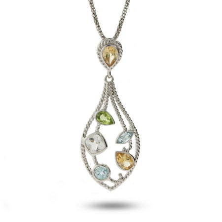 Designer Inspired Multi CZ Teardrop Cable Pendant