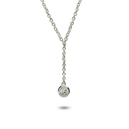 Designer Style Sterling Silver Bezel CZ Lariat | Eve's Addiction®