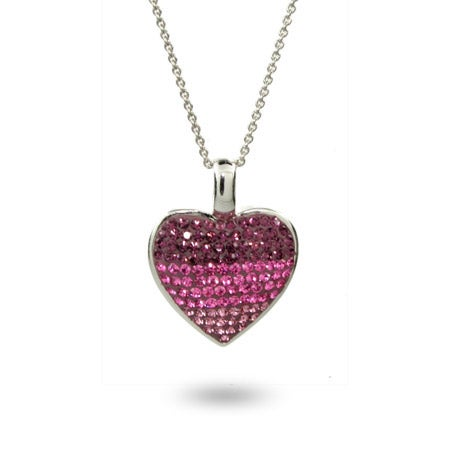 Pink & Purple Swarovski Crystal Sterling Silver Heart Pendant