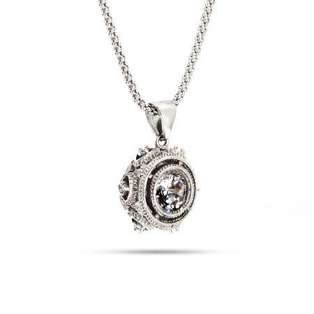 Victorian Style Crown Set Silver Bezel CZ Pendant