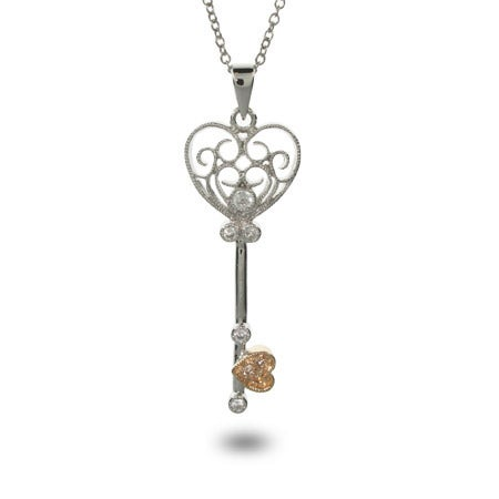 Vintage Style CZ Heart Shaped Key Necklace