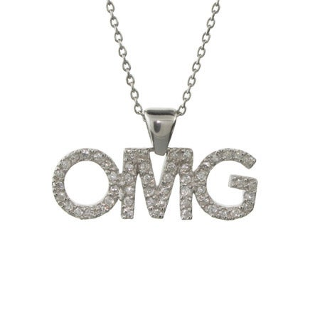 OMG Oh My God CZ Sterling Silver Chat Pendant