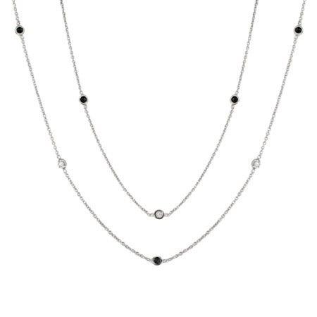 Designer Style 60 Inch Bezel Set Black & White CZ Studded Chain