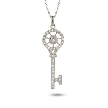 Sparkling CZ Vintage Style Key Pendant | Eve's Addiction®