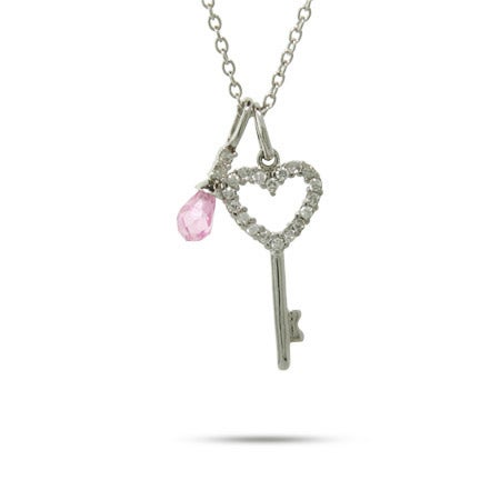 Sterling Silver CZ Heart and Pink Crystal Charm Necklace