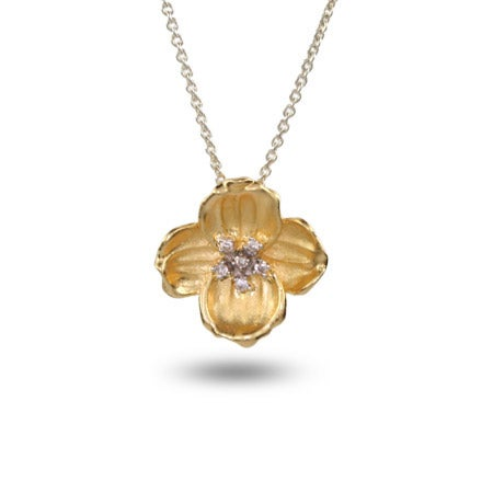Gold Vermeil Dogwood Flower Pendant with CZ Accents