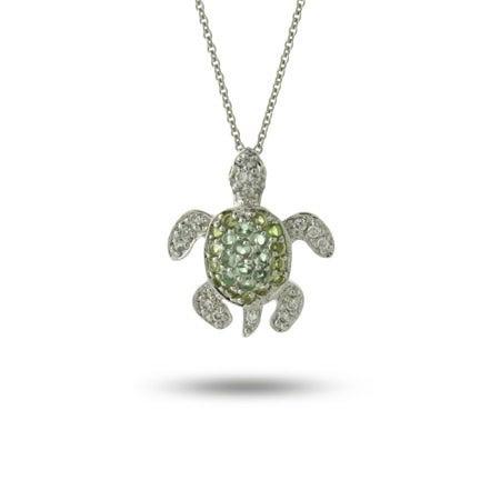 Sterling Silver Green CZ Sea Turtle Pendant
