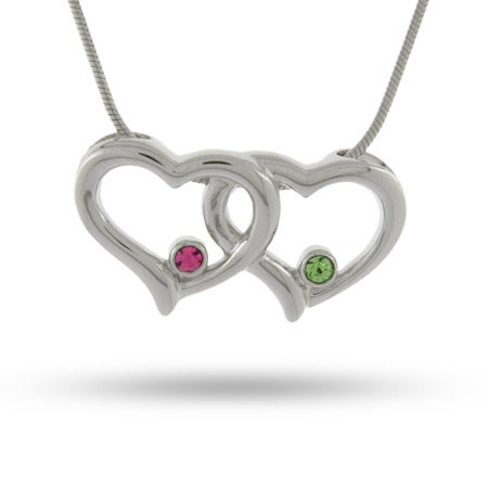 Joined Hearts Couples Birthstone Necklace