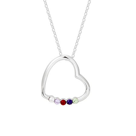 5 Stone Sterling Silver Crystal Heart Mother's Necklace