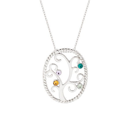 Custom 4 Birthstone Swarovski Crystal Family Tree Pendant | Eve's Addiction®