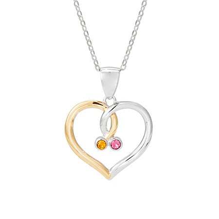 Intertwined Birthstone Austrian Crystal Heart Pendant