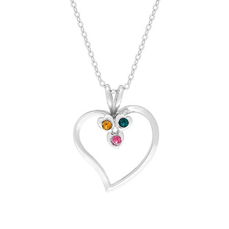 3 Stone Swarovski Birthstone Family Heart Necklace