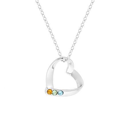 Heart Mother's Pendant with 3 Custom Birthstones | Eve's Addiction