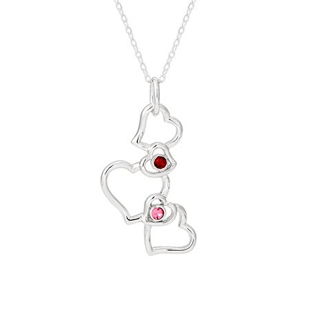 2 Stone Dangling Hearts Sterling Silver Couples Necklace