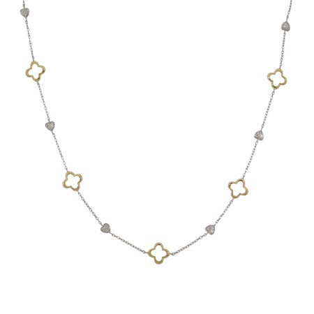"Designer Style Gold & Silver Clover & Hearts 30"" Necklace"