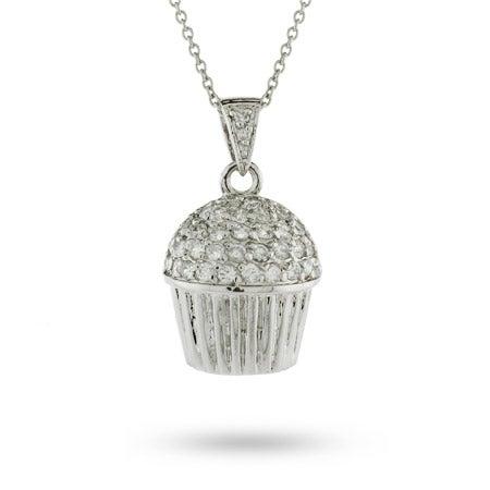 Designer Style Pave CZ Cupcake Necklace