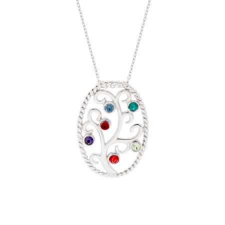 Swarovski Crystal 6 Birthstone Family Tree Pendant | Eve's Addiction