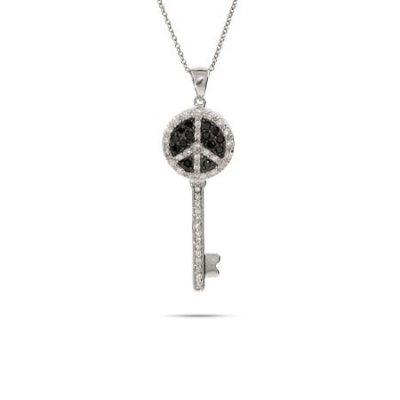 Black and White CZ Peace Sign Key Necklace