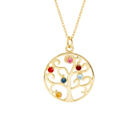 6 Birthstone Family Tree Gold Vermeil Pendant