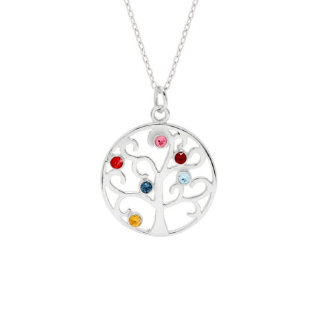 Six Birthstone Family Tree Pendant | Eve's Addiction