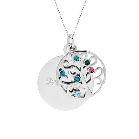 Engravable 6 Birthstone Crystal Family Tree Pendant | Eve's Addiction®