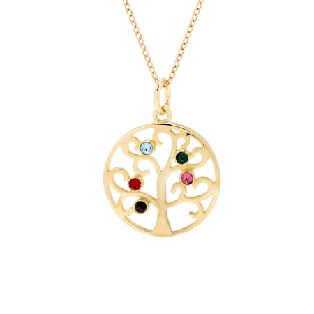 Custom 5 Birthstone Gold Vermeil Family Tree Pendant | Eve's Addiction®