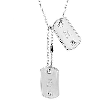 Engravable Petite CZ Double Dog Tag Pendant | Eve's Addiction®