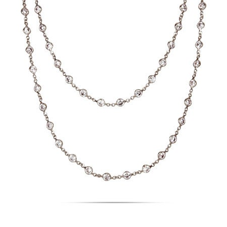 Strand of Diamonds Sterling Silver CZ Necklace | Eve's Addiction®