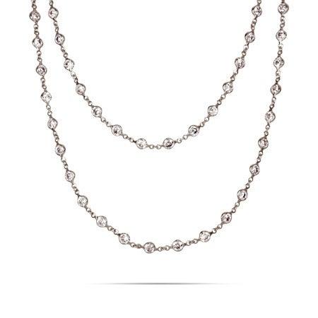Strand of Diamonds Sterling Silver CZ Necklace | Eve's Addiction®