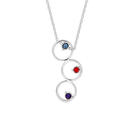 Custom Three Birthstone Bubble Necklace